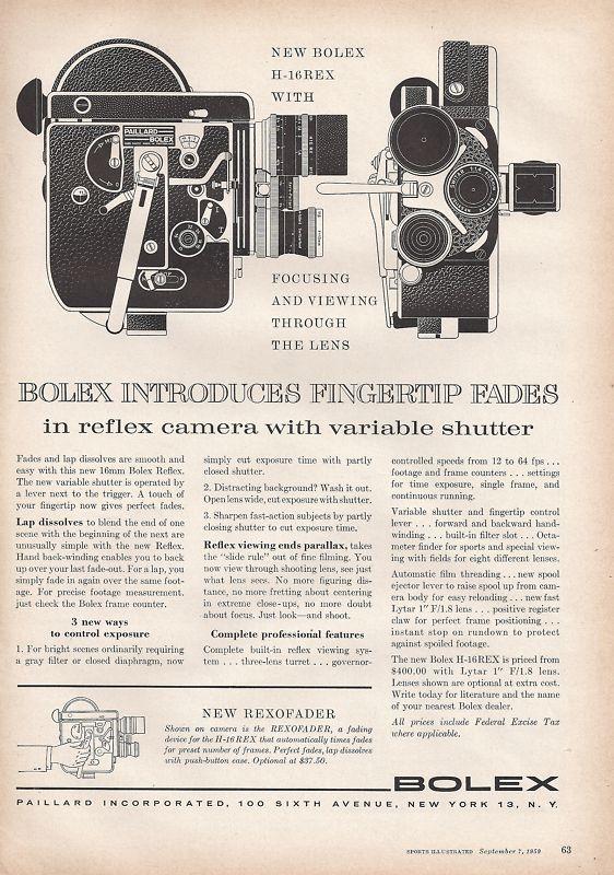 Bolex H-16REX advertisement 1959